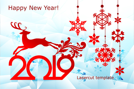 New Year, Christmas laser cutting templates. Festive decorations in 2019 on an icy background openwork deer, snow, snowflakes. Decor for decoration of rooms, Windows, showcases. Vector illustration.