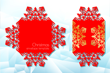 New Years and Christmas. Folding template of a festive envelope for laser cutting or die-cutting. A snowflake pattern on a greeting card is suitable for invitations, menus. Vector illustration.