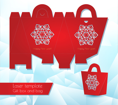 Laser pattern paper gift bag. Congratulatory packaging for retail. Openwork laser cutting template. Vector illustration