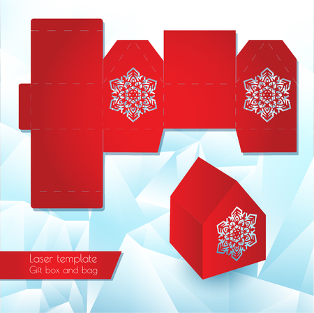 Laser pattern paper box for a gift. Congratulatory packaging for retail. Openwork laser cutting template. Vector illustration