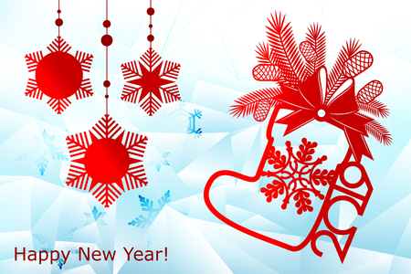 New Year, Christmas laser cutting templates. Festive decorations in 2019 on an icy snowflake background with a place for text, a Christmas bag. Decor for decoration of rooms, Windows, showcases. Vector illustration 向量圖像