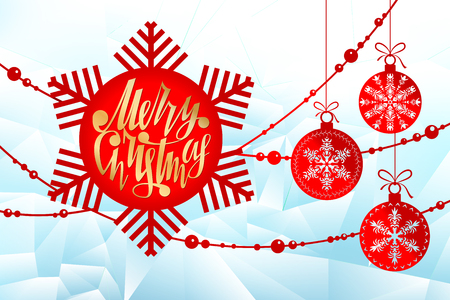 New Year, Christmas laser cutting templates. Holiday decorations in 2019 on an icy background. Snowflake with place for text, golden lettering. Decor for decoration of rooms, Windows, showcases. Happy Christmas, balls. Vector illustration 向量圖像