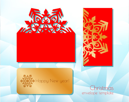 New Years and Christmas. Folding template of a festive envelope for laser cutting or die-cutting. A snowflake pattern on a greeting card is suitable for invitations, menus. Vector illustration