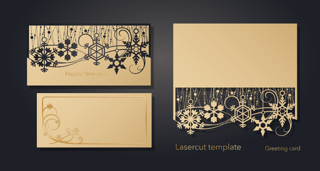 New Year's and Christmas. Laser greeting card template, invitations for New Year events. Winter openwork, snow pattern from craft paper, cardboard, gold embossed insert card. Vector illustration  イラスト・ベクター素材
