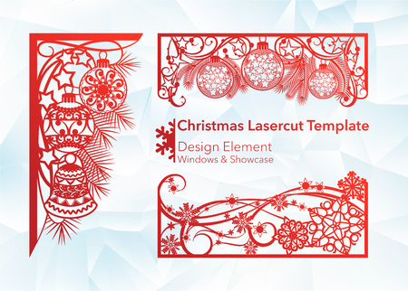 Laser cutting design for Christmas and New Year. A set of template of corner and horizontal elements to create a festive decor. Patterns for decorating a rectangular frame and border, windows, shop windows. Vector illustration