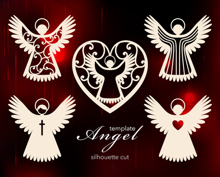 Collection of angels. Laser cut design for Christmas, Valentines day, wedding. A set of templates silhouette cut elements to create a festive decor. Vector illustration 向量圖像