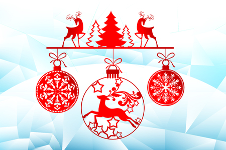 New Year, Christmas laser cutting templates. Holiday decorations in 2019 on an icy background deer, winter trees, Christmas balls. Decor for decoration of rooms, Windows, showcases. Vector illustration