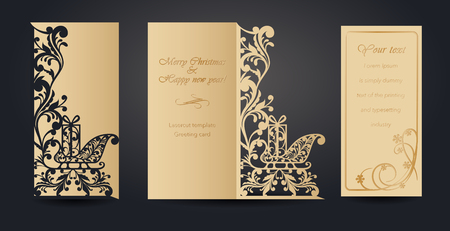 Christmas greeting card design for laser cutting. New Years and Christmas. Openwork pattern for envelopes, postcards, invitations to New Year events. Cutting out of paper, cardboard, plastic. Vector illustration 向量圖像