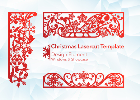 Laser cutting design for Christmas and New Year. Silhouette cut. A set of template of corner and horizontal elements to create a festive decor. Patterns for decorating a rectangular frame and border, windows, shop windows. Vector illustration