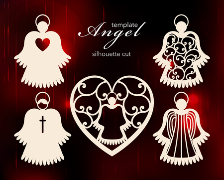 Collection of angels. Laser cut design for Christmas, Valentines day, Easter, wedding. A set of templates silhouette cut elements to create a festive decor. Vector illustration 向量圖像