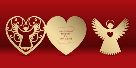 Gold greeting card with an angel for laser cutting. Template carving pattern for cards, invitations to the Day of lovers, wedding, Angel Day. Cutting through paper, cardboard. Vector