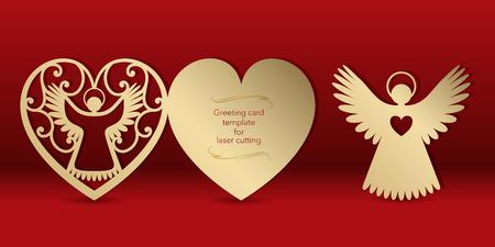 Tarjeta de felicitación dorada con un ángel para corte por láser. Patrón de talla de plantilla para tarjetas, invitaciones para el día de los enamorados, boda, día del ángel. Cortar papel, cartón. Vector