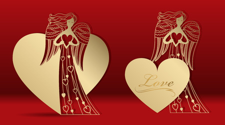 Gold greeting card with an angel for laser cutting. Template carving pattern for cards, invitations to the Day of lovers, wedding, Angel Day. Cutting through paper, cardboard. Vector 向量圖像