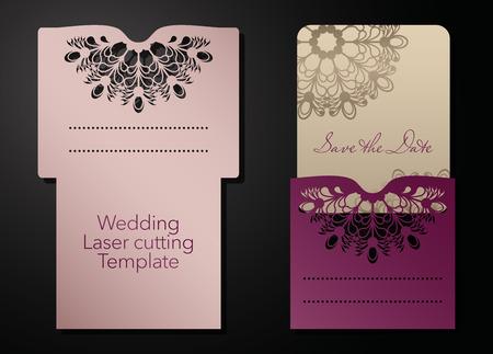 Corte por láser de un sobre de boda, tarjeta de felicitación, invitación. Adorno radial. Vector