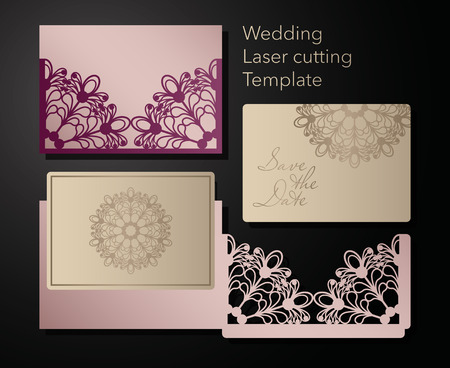 Laser cutting of a wedding envelope, greeting card, invitation. Radial ornament. Vector