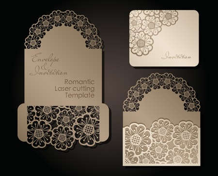intage envelope and invitation for laser cutting. Openwork cover and card design for wedding, Valentine's Day, romantic party. Vector illustration