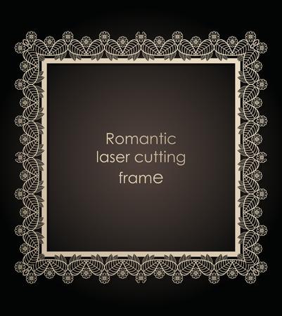 Template decorative frame for laser cutting of paper, cardboard. Wedding, Vector illustration