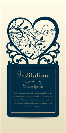 Laser cut wedding invitation from cardboard and paper. Vector illustration