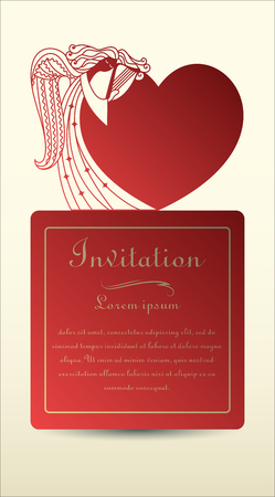 Angel and heart. Laser cut invitation, greeting card made of cardboard and paper. For religious and romantic events. Vector illustration