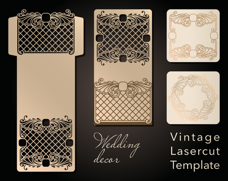 Decorative envelope and greeting card template for laser cutting. Cover design, invitations, save date in art Nouveau style for wedding, romantic party. Vector illustration