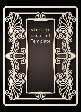 Decorative frame for laser cutting. Cover design, invitations, save date, greeting card in art Nouveau style for wedding, romantic party. Vector illustration