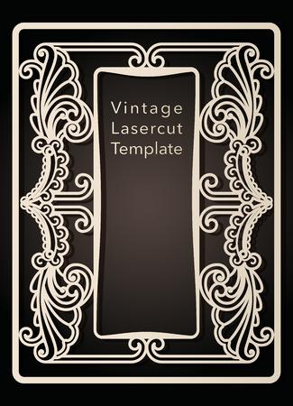 Marco decorativo para corte por láser. Diseño de portada, invitaciones, guardar fecha, tarjeta de felicitación en estilo art Nouveau para boda, fiesta romántica. Ilustración vectorial