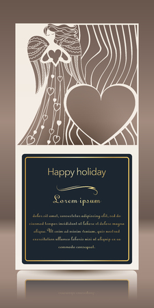 Laser cut for greeting card, invitation, cardboard and paper badge. Card for wedding, romantic party, happy holiday. Silhouette of an angel..Vector illustration Ilustracja