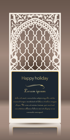 Laser cut for greeting card, invitation, cardboard and paper badge. Card for wedding, romantic party, happy holiday. Vector illustration