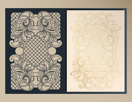 Decorative cover, folder, form A-4 format for laser cutting. Art Nouveau ornament design for wedding packaging, invitations, romantic party. Vector illustration