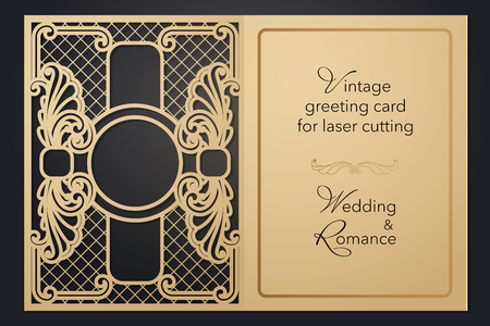 Vintage greeting card for laser cutting. Delicate pattern for wedding, romantic party, blank menu, cover folder for presentation