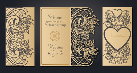 Vintage greeting card for laser cutting. Openwork pattern for a wedding, a romantic party in the Baroque style, Gatsby