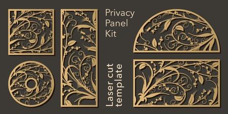 Set di pannelli traforati per il taglio laser. Elemento decorativo intagliato per l'interior design, partizione della stanza, schermo, pannello per la privacy Vettoriali