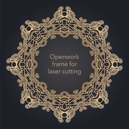 Round openwork frame for laser cutting. Mandala for interior decoration, pages, covers. Decorative ethnic ornament. Vector