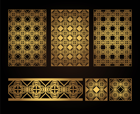 A set of decorative panels for laser cutting of wood. Pattern to create interior decorations, partitions, walls, backgrounds 向量圖像