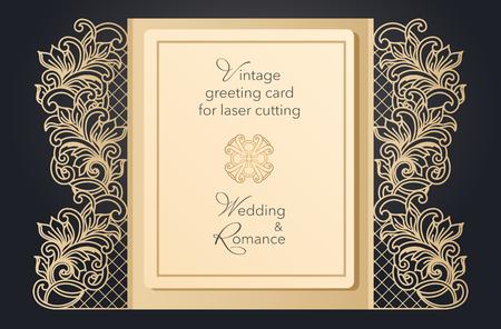Faltbares Grußkartentor zum Laserschneiden. Zartes Muster für eine Hochzeit, eine romantische Party. Geschnitztes Design für Speisekarten, Cover, Ordner für Präsentationen