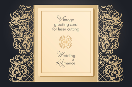 Foldable greeting card gate for laser cutting. Delicate pattern for a wedding, a romantic party. Carved design for menus, covers, folders for presentations