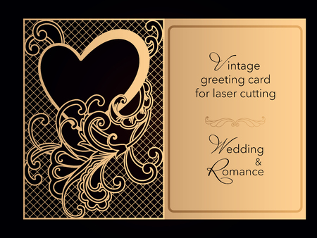 Laser cutting openwork template. Wedding invitation, greeting card, cover for a romantic menu in a restaurant. Delicate pattern with curlicues. Vector