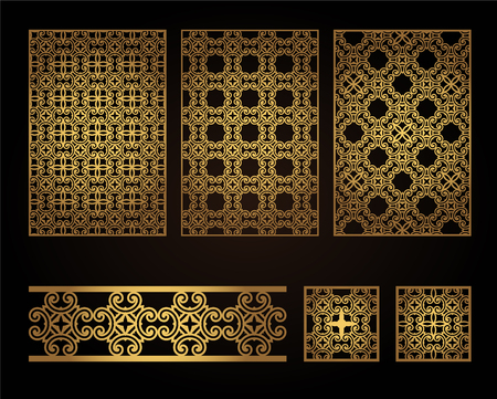 A set of decorative panels for laser cutting of wood. Pattern to create interior decorations, partitions, walls, backgrounds 일러스트