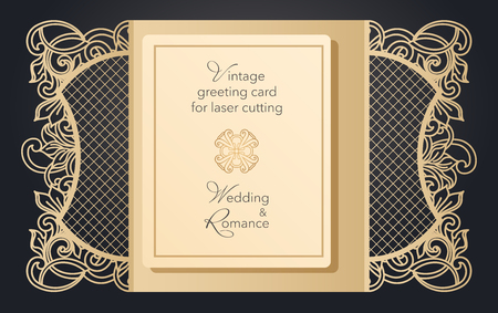 Foldable greeting card gate for laser cutting. Delicate pattern for a wedding, a romantic party. Carved design for menus, covers, folders for presentations Archivio Fotografico - 125164357