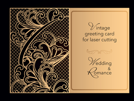 Laser cutting openwork template. Wedding invitation, greeting card, cover for a romantic menu in a restaurant. Delicate pattern with curlicues. Vector Archivio Fotografico - 125164358