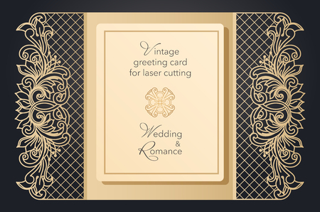Foldable greeting card gate for laser cutting. Delicate pattern for a wedding, a romantic party. Carved design for menus, covers, folders for presentations Archivio Fotografico - 125164359
