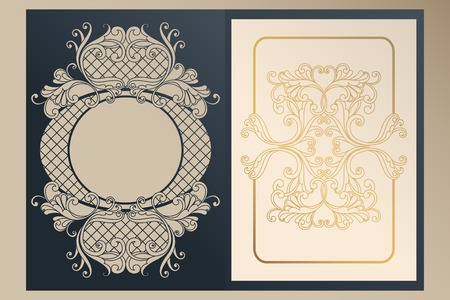 A4 openwork cover for laser cutting. Unique congratulatory folder and leaf liner with gold ornaments for greetings, wedding invitations, save the date. Vintage frame, antique cover 向量圖像