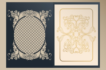 A4 openwork cover for laser cutting. Unique congratulatory folder and leaf liner with gold ornaments for greetings, wedding invitations, save the date. Vintage frame, antique cover