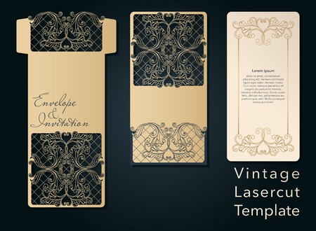 Openwork template for laser cutting. Swirly decorative wedding invitation envelope.