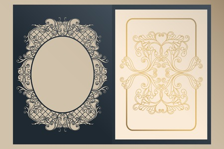 A4 openwork cover for laser cutting. Unique congratulatory folder and leaf liner with gold ornaments for greetings, wedding invitations, save the date. Vintage frame, antique cover Ilustração