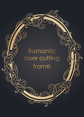 Template frame in the vector for laser cutting. Unique decorative ornaments for greeting cards, wedding invitations, save the date with space for your text. Vintage frame, antique cover