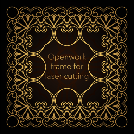 Template gold frame in the vector for laser cutting. Unique decorative ornaments for greeting cards, wedding invitations, save the date with space for your text. Vintage frame, antique cover Ilustração