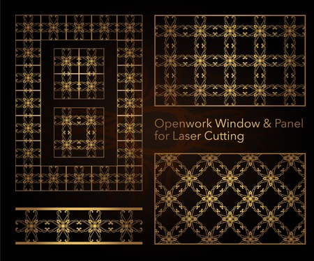 A set of decorative patterns for laser cutting. A through rectangular geometric pattern for metal, wood, paper, engraving, stencil. Vector illustration design.