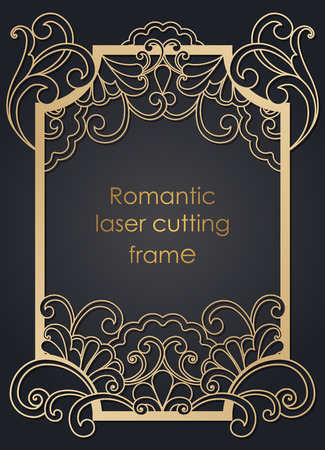 Template frame in the vector for laser cutting. Unique decorative ornaments for greeting cards, wedding invitations, save the date with space for your text. Vintage frame, antique cover.