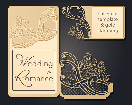 Patterned pattern for laser cutting. Openwork layout of a festive envelope, a card for your text, a label, a note in flowers. Wedding, romantic party, date, gift, package for congratulations
